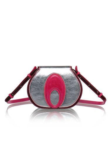 Silver-fuchsia Lotus Full-grain Leather Zipper Retro Shoulder Bag