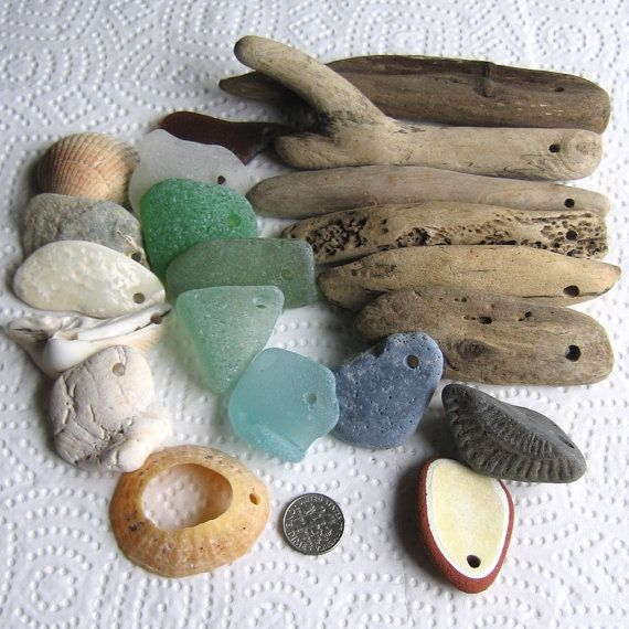 21 XL Large Sea Glass Driftwood Slag Pottery by TidelineDesigns