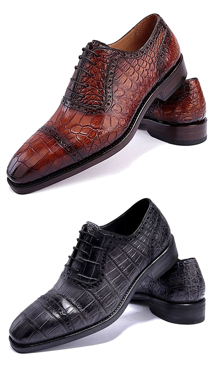 Alligator Leather Cap Toe Lace up Oxford Classic Modern Business Dress Shoes