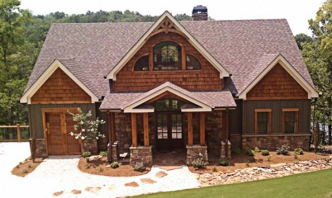 It is a craftsman style mountain or lake house plan designed for a sloping lot. Customers are drawn to this floor plan because of the layout and the great views of the lot it provides from every major living room. The rear of the home is covered in porches and has an outdoor fireplace that will make your home away from home even more enjoyable.