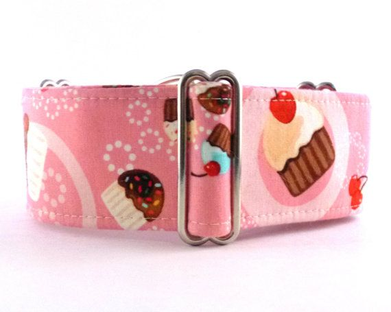 "Toss Your Cupcakes (1.5"" Martingale; 2"" Martingale; Martingale Collar; Dog Collar; Greyhound, Sighthound, Bullies; Adjustable; Customizable)..."
