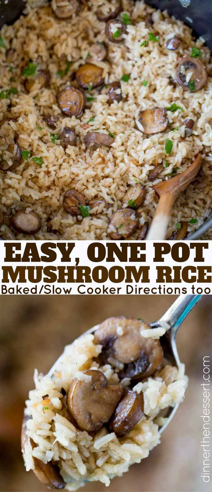 One Pot Mushroom Rice: The best, most buttery and mushroom-y rice you'll ever make. A PERFECT holiday side dish.
