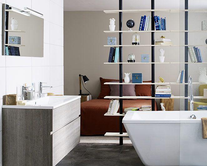 Castorama meuble de salle de bains calao une suite parentale lumineuse et bien pens e new for Meuble salle de bain calao