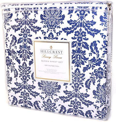 Hillcrest Blue Damask 60pc Sheet Set 60% Cotton Luxury Linens Fascinating Blue Patterned Sheets