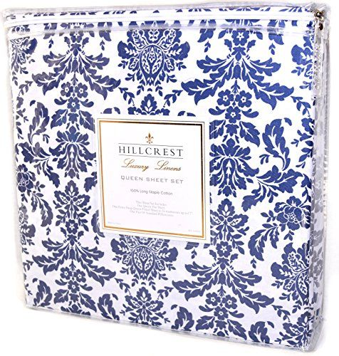 Hillcrest Blue Damask 4pc Sheet Set 100 Cotton Luxury