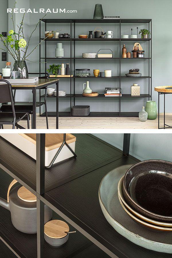 Schwarzes Metallregal LIUM - als Küchenregal  Regal design, Regal