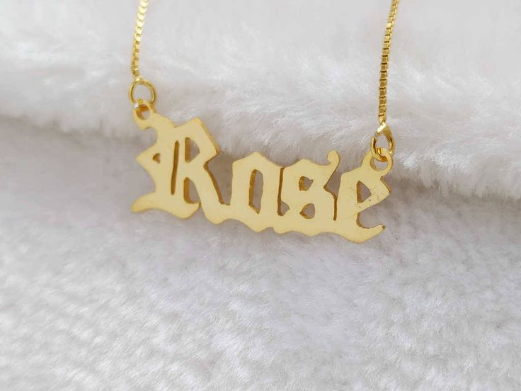 Old English Name Necklace,Old English Letter Necklace,Old English Necklace,Old English Font Necklace,Personalized Any Name Necklace by BackZeroDesign on Etsy