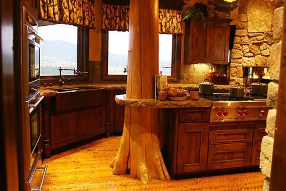 Natural Rustic Kitchens Design Ideas: Trees Trunks, Dreams Houses, Dreams Kitchens, Kitchens Design, Cabins Kitchens, Kitchens Ideas, Rustic Kitchens, Country Kitchens, Logs Cabins
