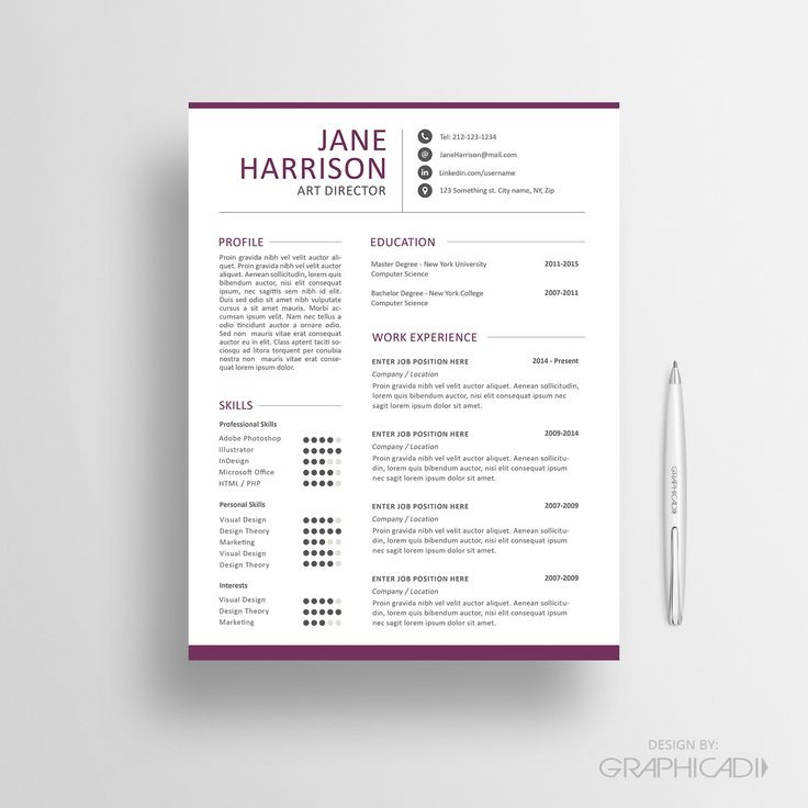 51 Best Resume Images On Pinterest | Resume Ideas, Cv Template And