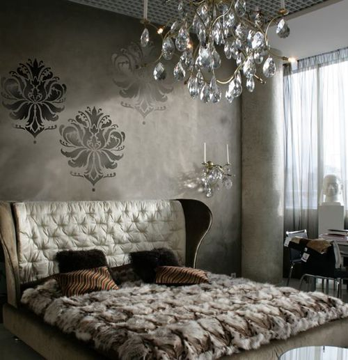 LOVE this bed: Decor Ideas, Cut Edge Stencil, Damasks Stencil, Luxury Bedrooms, Master Bedrooms, Damask Stencil, Gabi Brocade, Crafts Supplies, Graphics Patterns