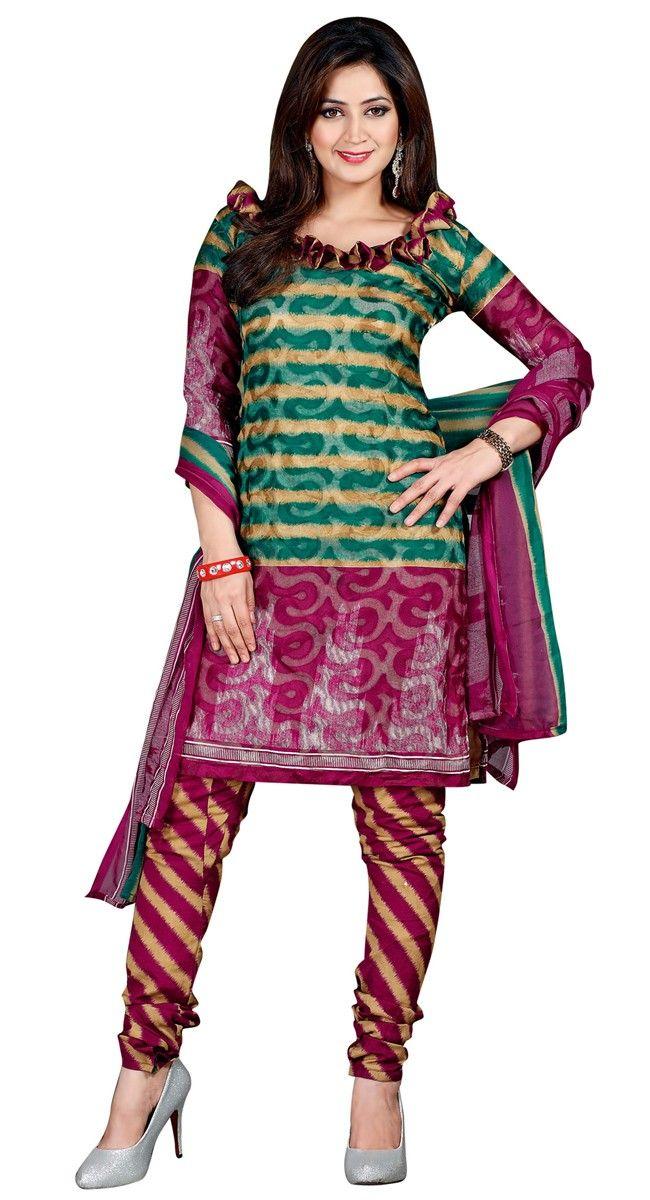 Flashy Green & Magenta Printed #Salwar_Kameez