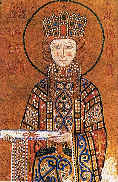 """Empress Irene of Bizantium (752 – 803) mother of Constantine IV. Empress, elaboraste jeweled garment. wearing a Pallium/lorum (""""heavily jeweled scarf... official insignia of the emperor."""") The hair isn't covered yet."""