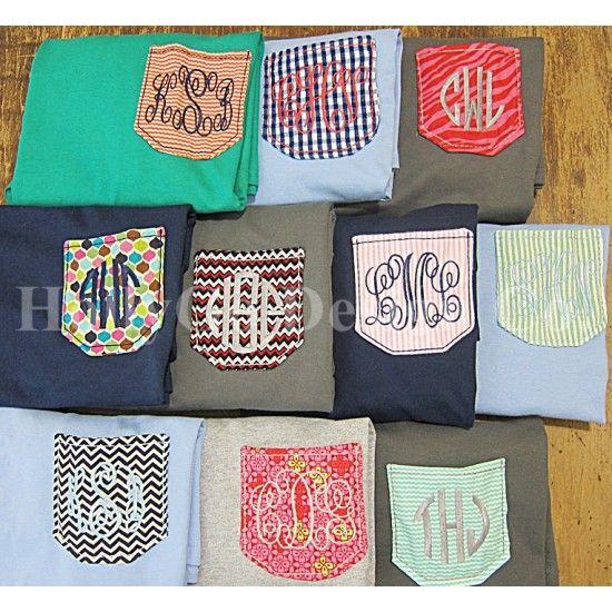 Monogrammed Pocket T Shirt, $22.00 www.HollyGoDesign...