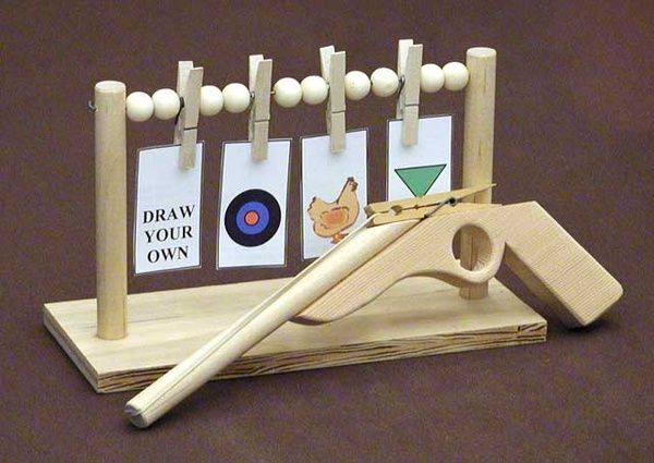 This = cool. Rubber Band shooter and target stand Cub Scout crafts.