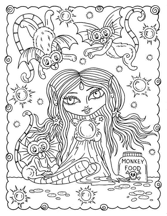 DIGITAL Coloring Book Misfits creepy cute girls adult