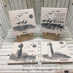 High Tide - Sneak Peek - These turned out gorgeous! Archival Grey stamped on ceramic tiles from a home store. Sealed with Mod Podge Matte and sprayed with clear sealer.