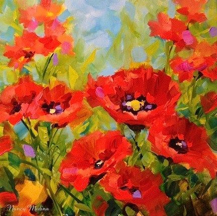 """Daily Paintworks - """"Surrounded - Red Poppy Paintin..."""" by Nancy Medina"""