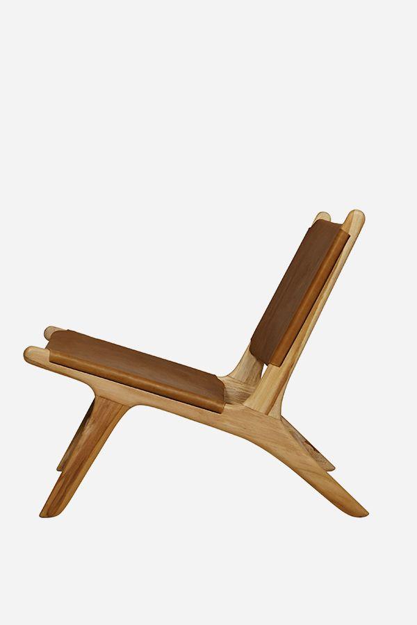 Leather Marlboro Chair, Flat - Teak & Tan
