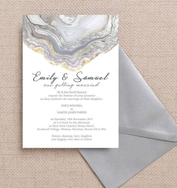 Agate Crystal Silver Grey Wedding Invitation 1665