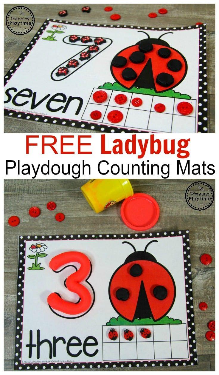 FREE Ladybug Playdough Mats for Spring #counting #preschool #playdoughmats #springworksheets #springpreschool
