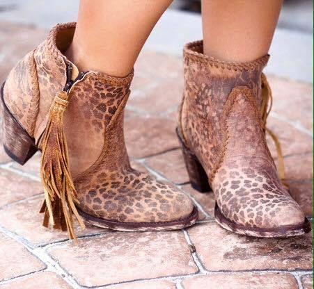 BL1116-13 Old Gringo 'Adela' Ochre Leopardito Leather Ankle Boot - bootjunky.com