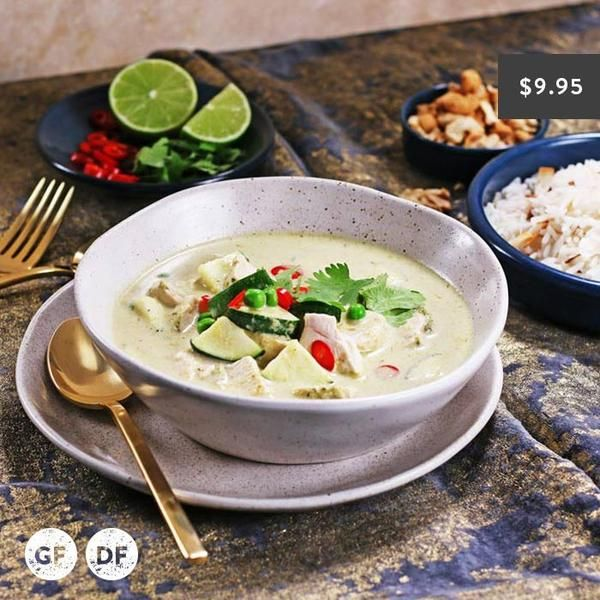 YouFoodz | Thai Green Curry $9.95 | We've got a creamy coconut sauce, loaded with the perfect amount of green chilli, lean chicken pieces, zucchini and peas | #Youfoodz #HomeDelivery #YoullNeverEatFrozenAgain