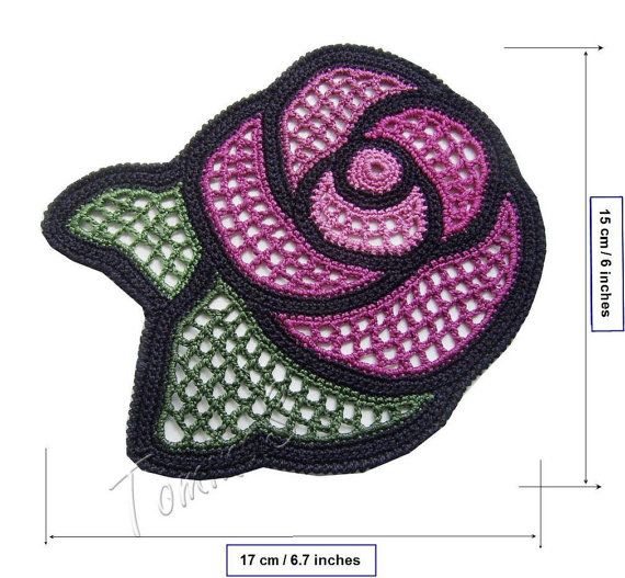 Crochet applique crochet lace rose applique lace by TominasName