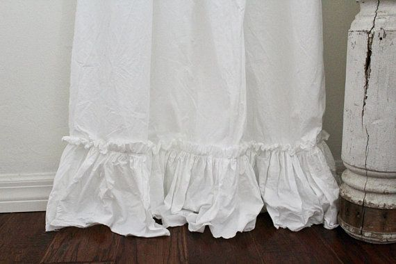 Adjustable Ruffled Curtain Panels Up To 102 Inches White Washed