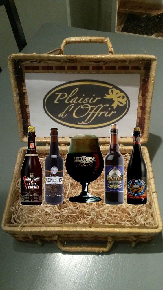 coffret cadeau biere brune 4 bouteilles differentes de 75cl + 1 verre a biere