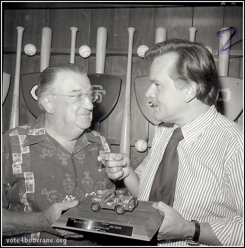 "Bob Crane was a great fan of the LA Dodgers. In the 1970s, he presented team owner Walter O'Malley with a plaque-mounted Hogan's Heroes jeep.   Earlier, in 1957 on his KNX Radio show, Bob also petitioned (jokingly) to be the next Dodger Bat Boy. (Check out our ""Vote For Bob Crane"" YouTube channel for the 1957 aircheck.) Get your copy of Bob Crane: The Definitive Biography today and discover the truth about the Hogan's Heroes star!"