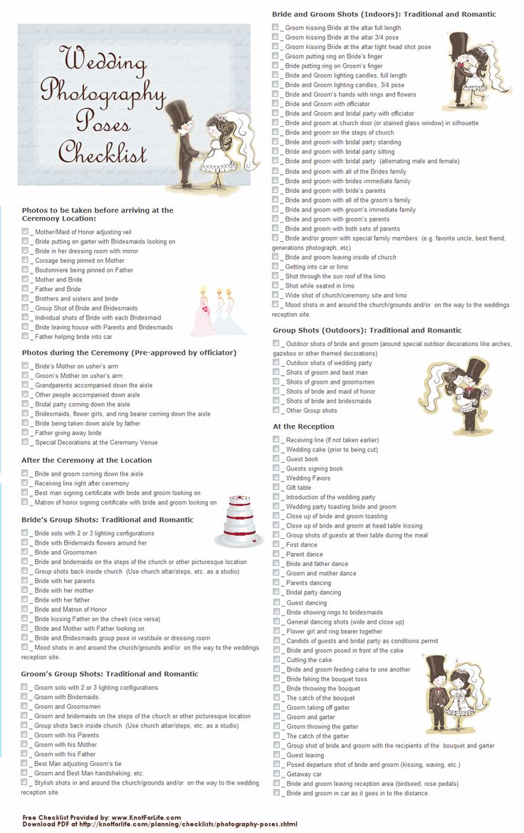 Wedding Photography Checklists