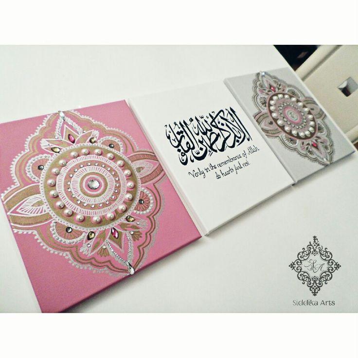Arabic canvas set in pink grey arabesque
