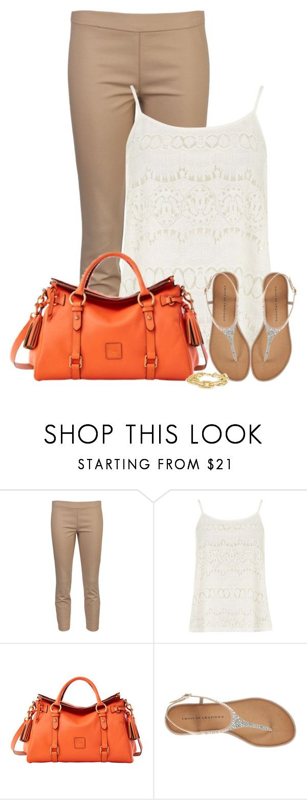 """""""Neutrals with a Pop of Orange"""" by denise-schmeltzer ❤ liked on Polyvore featuring The Row, Dorothy Perkins, Dooney & Bourke, Chinese Laundry and Towne & Reese"""