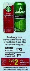 I just wanted to give you a heads up that starting 6/3 you can score 2 FREE Starbucks Refreshers at CVS! Be sure to print this $1/1 Starbucks Refreshers coupon now as it tends to run out of prints quickly. Here's how you can snag these FREE: Starbucks Refreshers 12oz 2/$3 = $1 Ecb (limit [...]