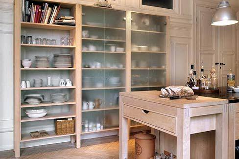 Tall, freestanding kitchen shelving