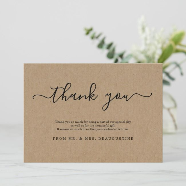 Simple Rustic Kraft Paper Thank You Card Zazzle Com Thank You Cards Your Cards Custom Thank You Cards