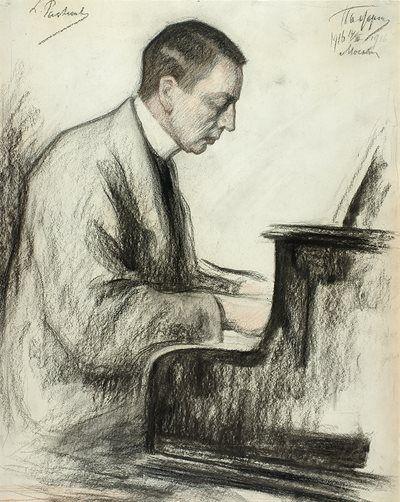 #Portret Sergei #Rachmaninoff - 1916 (Charcoal on paper) Leonid #Pasternak (1862 - 1945)