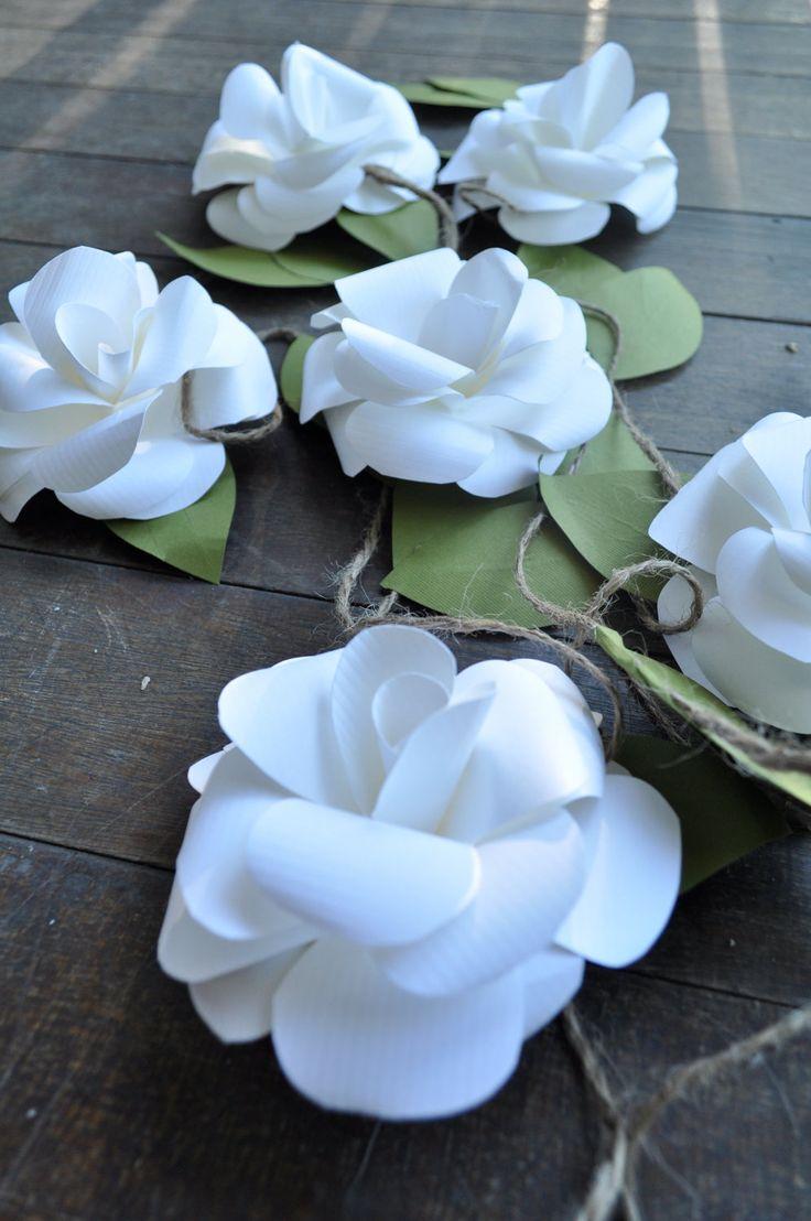 Wedding Garland- Paper Flower Wedding Garland-White Flower Garland. $48.00, via Etsy.