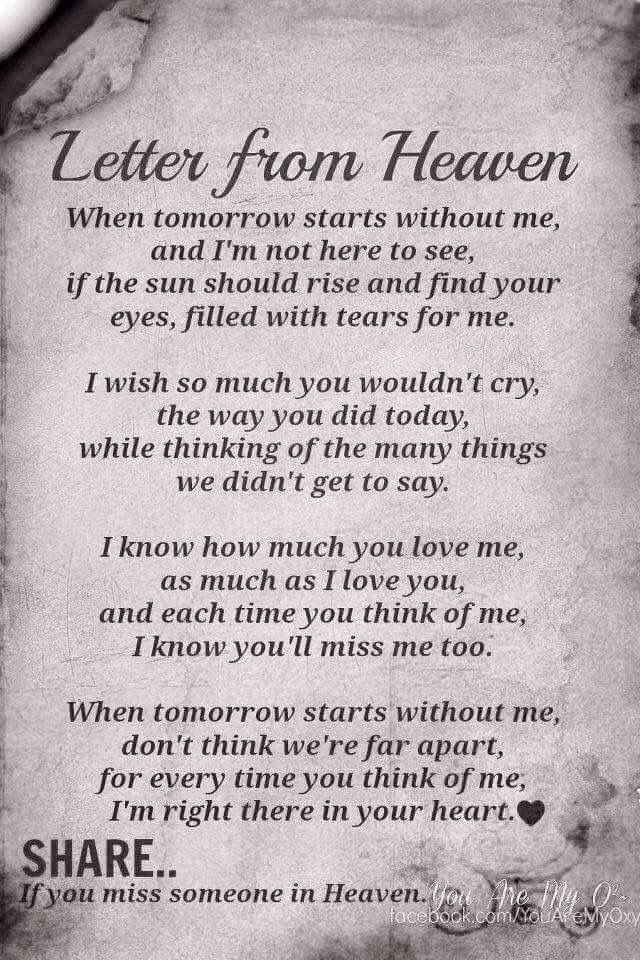 The  Best Letter From Heaven Ideas On   Mom In Heaven