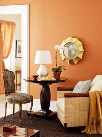 Love this orange  As you can see, there is nothing dull about this color! Buttered Yam wall color by Benjamin Moore