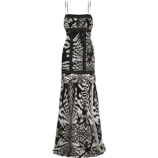 Roberto Cavalli Pleated printed silk gown ($1,875) ❤ liked on Polyvore featuring dresses, gowns, silk evening gowns, petite ball gowns, silk ball gown, silk evening dresses and petite gowns