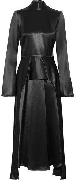 Beaufille - Bolina Draped Satin Peplum Midi Dress - Black