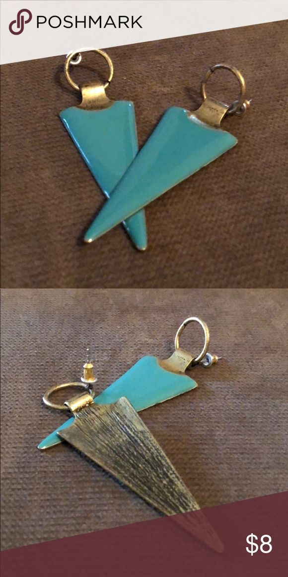 Turquoise Aztec earrings Very fun to wear with short of long hair up in a pony!! Not too heavy, meant to look distressed Jewelry Earrings