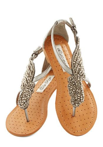 @Allie McCarthy …. these are kind of neat.   A Flight to See Sandal in Silver - Flat, Faux Leather, Silver, Beads, Wedding, Daytime Party, Beach/Resort, Summer, Variation