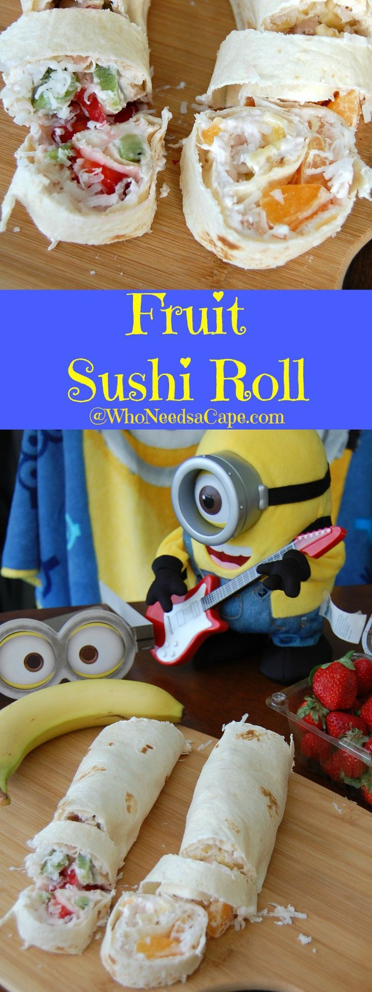 Fruit sushi Rolls are a delightful snack that is easy to make and tastes great! #minionmovienight #ad