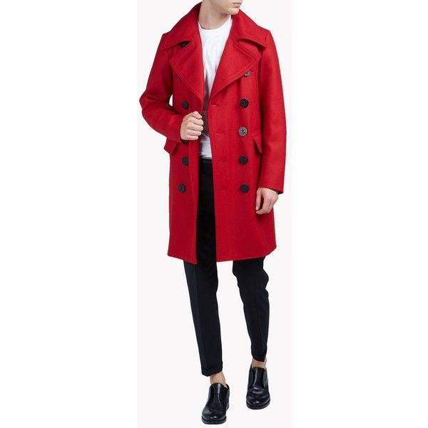 Dsquared2 Coat ($1,053) ❤ liked on Polyvore featuring men's fashion, men's clothing, men's outerwear, men's coats, red, mens fur collar coat and mens red coat
