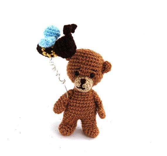 $23.86 BROWN BEAR with a #HONEYbee, miniature bear, tiny crocheted bear. amigurumi kawaii bear, funny bear, teddy bear, #funnygift by crochAndi