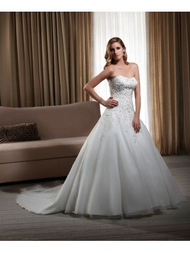 Lace Strapless Beaded Bodice Ball Gown Wedding Dress