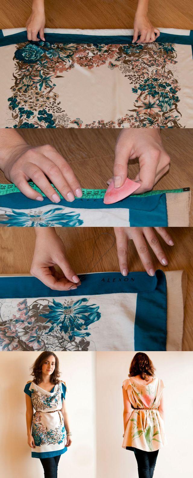 DIY vintage scarf dress