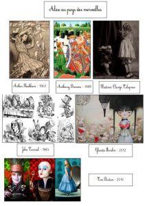 Des illustrations pour le cahier d'art : Alice au pays des merveilles